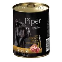 Piper Adult - Премиум консервирана храна за кучета над 1 година с пилешки сърца и кафяв ориз - 400 гр.