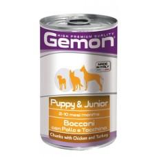 GEMON DOG Junior Консерва хапки 415 гр. - с пиле и пуйка за подрастващи /куче/