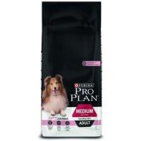 PURINA® PRO PLAN® Dog Medium Adult с OPTIDERMA  за кучета в зряла възраст от средни породи с чувствителна кожа, суха храна, Сьомга, 14kg