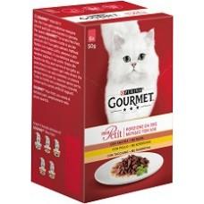 PURINA® GOURMET® Mon Petit, Печено месо в сос с Птиче месо, 6х 50 g