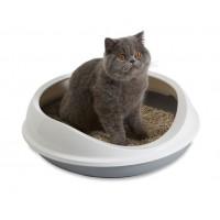 """Котешка тоалетна """"Figaro"""" 55x48.5x15.5см, овал, с висок борд, бяло/сиво"""