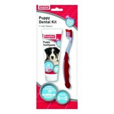 Beaphar Puppy Dental Kit  –паста за зъби 50гр + четка за зъби за малки кученца