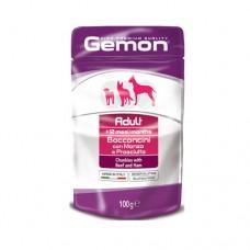GEMON Adult Пауч хапки 100 гр. – за кучета в зряла възраст с говеждо и шунка