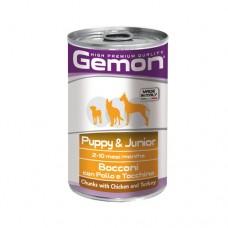 GEMON DOG Консерва хапки Junior chicken&turkey 415 гр. – за подрастващи кучета от всички породи с пилешко и пуешко