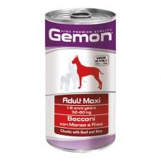 GEMON DOG Консерва хапки Adult Maxibeef&rice 1,25 кг - за големи породи в зряла възраст с телешко и ориз