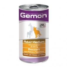 GEMON DOG Консерва хапки Adult turkey 1,25 кг. – за кучета в зряла възраст с пилешко и пуешко