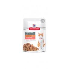 Hill's Science Plan Feline Young Adult Sterilised Pouches SALMON - паучове със сьомга - малки късчета в сос Грейви за млади кастрирани котки от 6 месеца до 6 години.