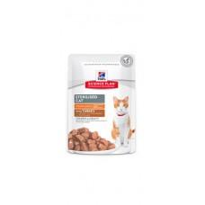 Hill's Science Plan Feline Young Adult Sterilised Pouches TURKEY - паучове с пуйка - малки късчета в сос Грейви за млади кастрирани котки от 6 месеца до 6 години.